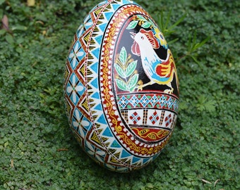 Goose pysanka with rooster Year of the Rooster Chinese New Year 2017 shell painted with wax batik work personalize this egg no extra cost
