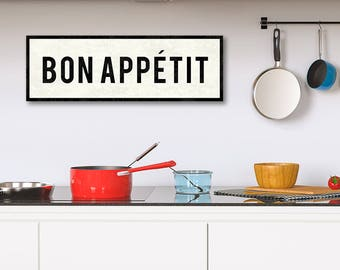 BON APPETIT Sign, French Kitchen Sign, Dining Room Sign, French Kitchen Art, Wall Decor, Farmhouse Decor, Gift For Mom, Oversized Canvas.