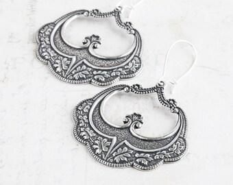 Large Antiqued Silver Oak Leaf Hoop Earrings on Silver Plated Hooks