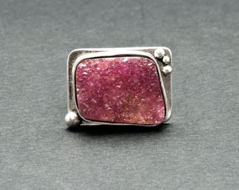 Big Square Pink Druzy Ring, Handmade Sterling Silver and Cobaltoan Calcite Natural Pink Color Gemstone Ring, Druzy Jewelry, Sparkly Jewelry