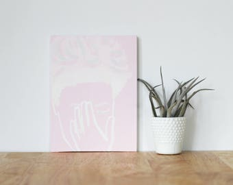"""pink wall art acrylic painting, """"mary boyden"""" - are you my bestie, flat 6x8 canvas, gift for friend, best friends, portrait, bridesmaids"""