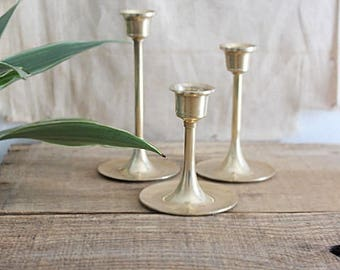 Vintage Graduated Set Of Three Brass Candlestick Holders