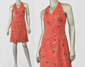SALE - Jones New York 90s Dress • Floral Sundress • Halter Dress • Coral Orange Floral Dress • V Neck Open Back Dress • Summer Cotton Dress