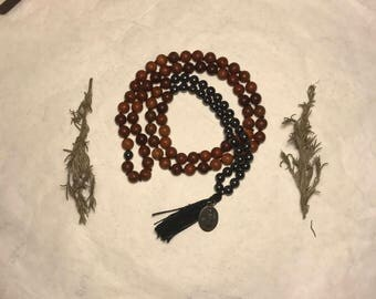 Mala Inspired Beaded Necklace with Hematite, Wood, and Vintage Pendant