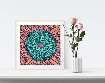 Wall Art, Art Print, Pink Floral Illustration, Home Decor, Housewarming Gift, Large Art Print, Wall Decor, Art Gift, Gift For Her