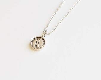 California, Stamped California Necklace, California Jewelry, State Jewelry, California Charm, CA