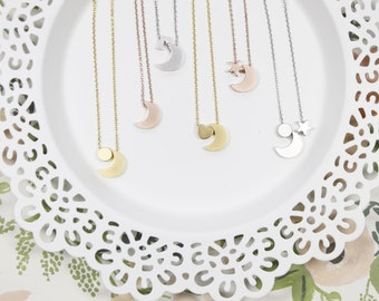 Moon Necklace | Heart | Star | Sun | Crescent Moon | Mommy and Me | Sisters | Mother Daughter | Gift for Her | Shower | Mothers Day Gift