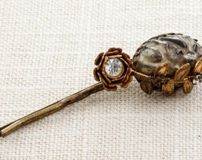 Gold Flower Leaf Rhinestone Vintage Hair Clip Embellished Bobby Pin Handmade in USA Hair Pins 16V
