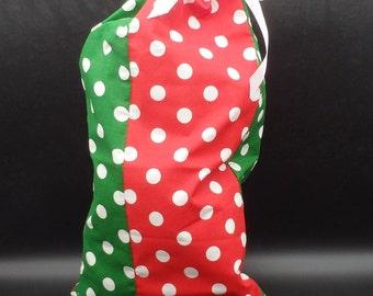 Christmas Gift Bag, Large Gift Bag, Fabric Gift Bag, Cloth Gift Bag, Red & Green Gift Wrap, Polka Dot Gift Bag, Holiday Gift Bag