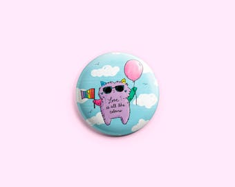 Love Is All The Colours ~ Purrfect Pinback Button