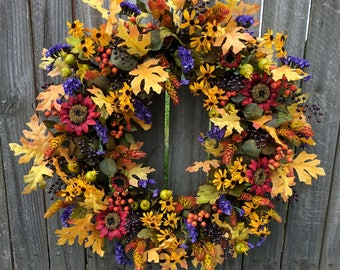 Fall Wreath, Fall Decoration, Autumn Wreath, Autumn Decoration, Sunflower Fall Wreath, Halloween Wreath, Wreaths
