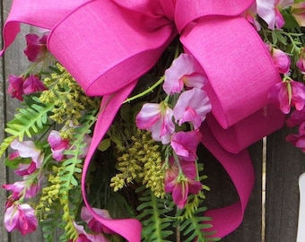 Pink Bow for Wreath, Bright Pink / Fuchsia Bow
