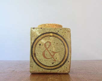 Vintage 70's Style Pottery Jar Corked Cube with Ampersand Funk