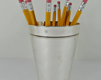 Vintage SILVERPLATE VASE Pencil Holder Cup Office Organizer Candle Holder Flower Bouquet Floral WEDDiNG
