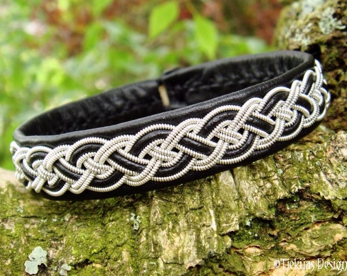 Genuine Handmade Sami Bracelet NIFLHEIM Norse Viking Bracelet Cuff in Black Leather with Pewter Braid and Antler Closure
