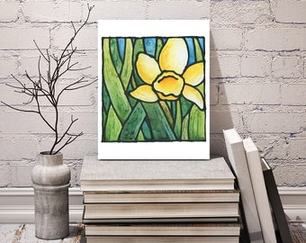 Daffodil Flower Print - FREE Shipping - Yellow Abstract Flower Artwork - Stained-Glass Art - Art Nouveau Artwork - Floral Wall Hanging