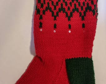 The Lucy Green and Red Christmas Stocking