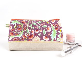 Purple Fabric Makeup Bag Floral Handmade Cosmetic Bag Embroidered Women's Makeup Storage Large Zipper Pouch Gift for Her