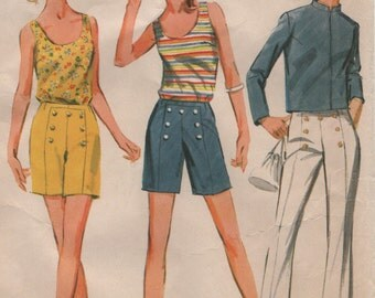 Vintage Summer Top Shorts Pants& Front Zip Short Jacket Womens Size 14 Sewing Pattern 1960s