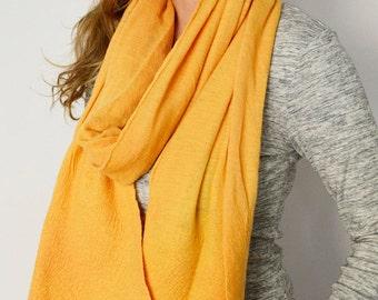 Felt sheer knit scarf Felt organic merino wool Mustard soft warm Winter Accessory trends gifts, Black Friday, Cyber monday gifts
