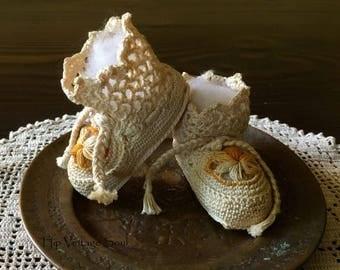 Vintage Crochet Baby Booties, Cotton Crochet Baby Booties, Unisex Baby Booties, Infant Crochet Booties