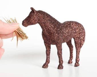 Glitter Horse. Country Wedding, Farm Themed Birthday Party, Nursery Decor, Baby or Bridal Shower Cake Topper, Table Centerpiece Decoration