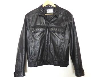 Vintage Mens Leather Jacket Biker Black Motor Racing by Rage
