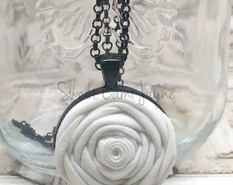 Fabric Rosette Pendant Necklace Rosette Necklace Fabric Pendant Handmade Necklace White Rosette Necklace Unique Necklace Black and White