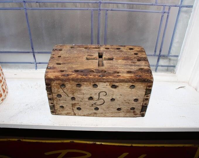 Antique Handmade Wood Box with Cross Cut Out 1800s Farmhouse Decor