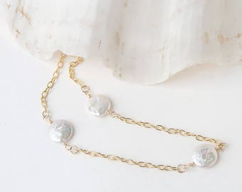 Coin Pearl Necklace - Pearl Necklace - Pearl Necklace for Mom - Bridesmaid Gift - Inspirational Gift - Layering Necklace - Wedding Necklace