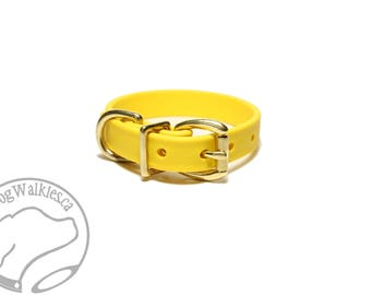 "Sunflower Yellow Biothane Dog Collar - 5/8""(16mm) wide - Leather Look and Feel - Small Dog Collar - Stainless Steel or Solid Brass Hardware"