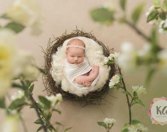 Baby Baptism Headband, Baby Girl Headband, Christening Headband, White Headband, Flower Girl Headband, Halo Headband, Baptism Headband