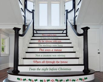 Twas the night before Christmas, Christmas Stair Decals, Staircase Decals, Holiday Decals,  , Christmas Decoration - XMD015