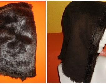 Vintage Faux Fur Suede Hood 70s Dark Brown Fake Fur Winter Hood for Coat or Jacket Boho Hood