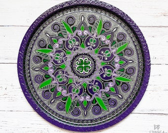 purple round serving tray decorative plate mandala painted metal serving tray home - Decorative Wall Plates
