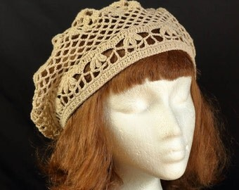 Crochet lace beret Chemo cap Summer beanies Boho hippie crochet beret Womens slouchy beanie Beige off white cotton beret Lightweight hat