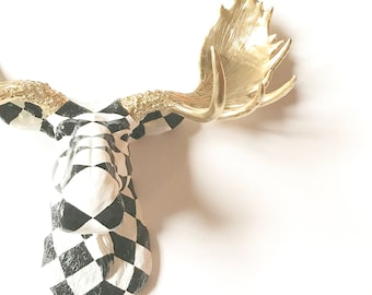 Custom Checkered Moose Head Faux Taxidermy Black and White Checkered Head with Gold Antlers wall mount hanging 2-3 WEEK WAIT before ship out