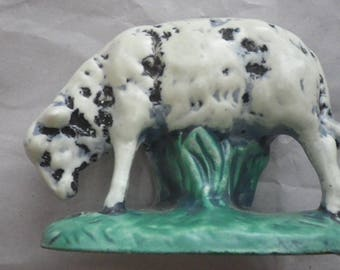 Vintage Ceramic Sheep Figurine on Grass by Atlantic Mold Ewe is White with Black Spots on Green Base Statue Figure Farm Animal Sheep
