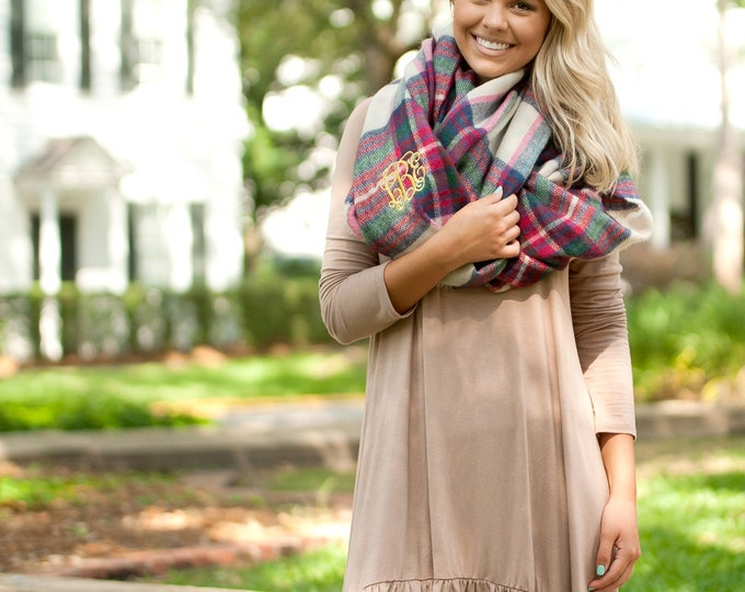 Monogrammed Infinity Scarf, Londyn Infinity Scarf, Gifts for Her, Christmas Gifts, Group Order Discounts, Senior Gifts