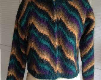 1980s Mohair Green and Gold Hand Knit Chevron Cardigan