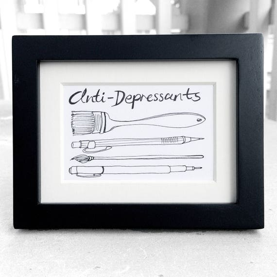 Inspirational Drawing - Anti-Depressants - Pen Ink Illustration - Motivational Art, Framed Drawing