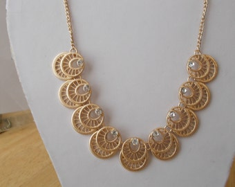 Gold Tone Necklace with Gold Tone and Clear Rhinestone Pendants on a Gold Chain