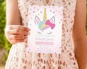 INSTANTLY EDITABLE - Unicorn Birthday Invitation, Rainbow Magical Birthday Invitation, Cute Unicorn Birthday Party, OLDP10