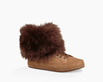 UGG Australia Sneakers lace up Zipper Short 3 Color Shearling Fur cuff Wool Custom w/ Swarovski Crystal Shoes Trainer Rhinestone Gift Ladies