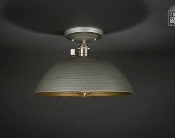 Flush Ceiling Mount | Edison Bulb Light Fixture | Brushed Nickel | Semi Flush | Large Hurricane Shade