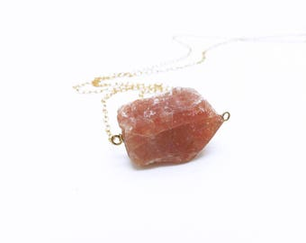 Sunstone Necklace, Natural Stone Necklace, Rough Stone Necklace, Sunstone Pendant Necklace, Orange Necklace, Crystal Jewelry