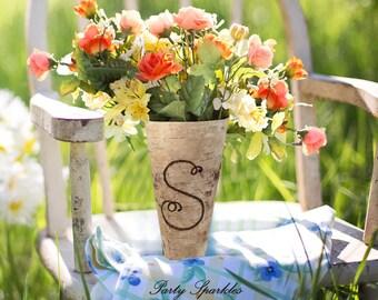 "Personalized  Monogram Vase a Birch Bark Tall Rustic 9"" Vase for Custom Birch Planter. Also A Wedding Centerpiece"