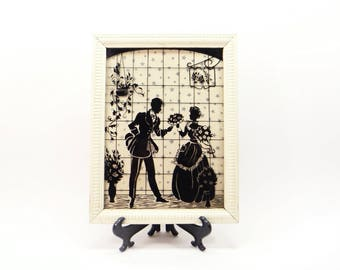 Victorian Couple Framed  Silhouette  Picture Reverse Painted  Victorian Man and Woman Decorative Wooden Frame