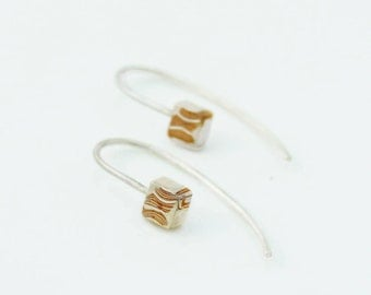 Earrings Multi-layer compression - Mokume Gane Silver & Cooper
