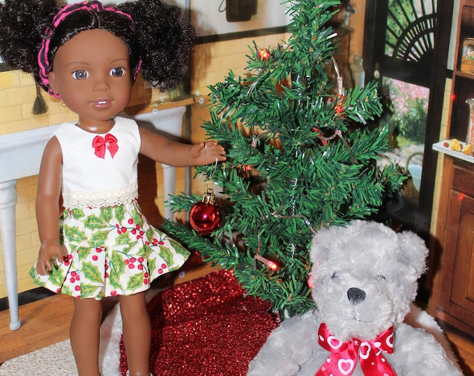 Hollie Print Christmas Skirt and White Top with Bow, Matching Shoes, Handmade to fit 14 5 inch dolls like the Willie Wisher, FREE SHIPPING